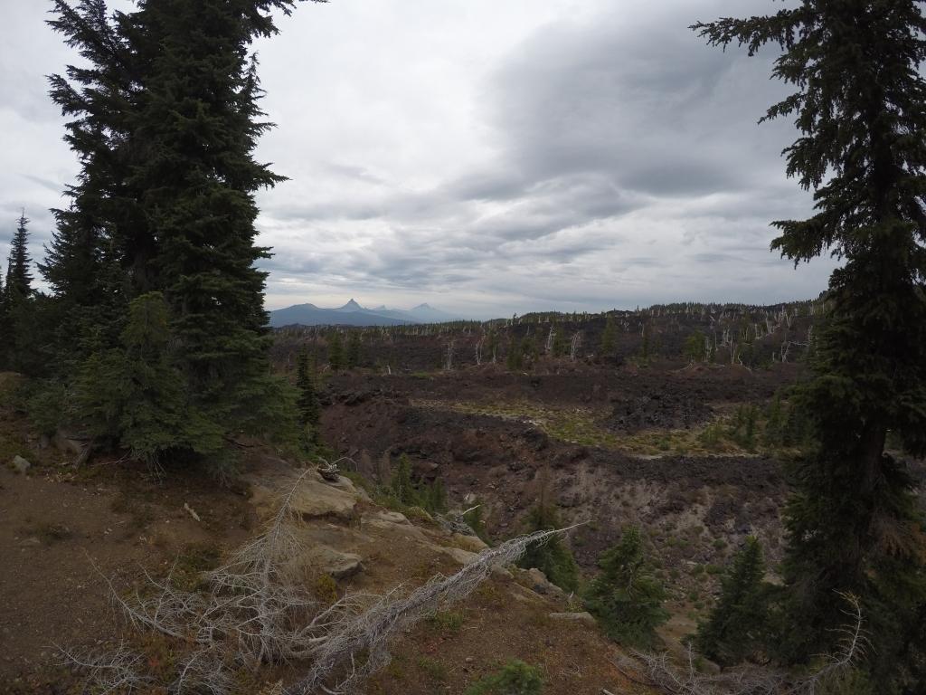 Fascinantan pogled prema sjeveru: Mt. Washington, Three Fingered Jack, Mt. Jefferson oko kojih ću hodati slalom sljedećih dana....
