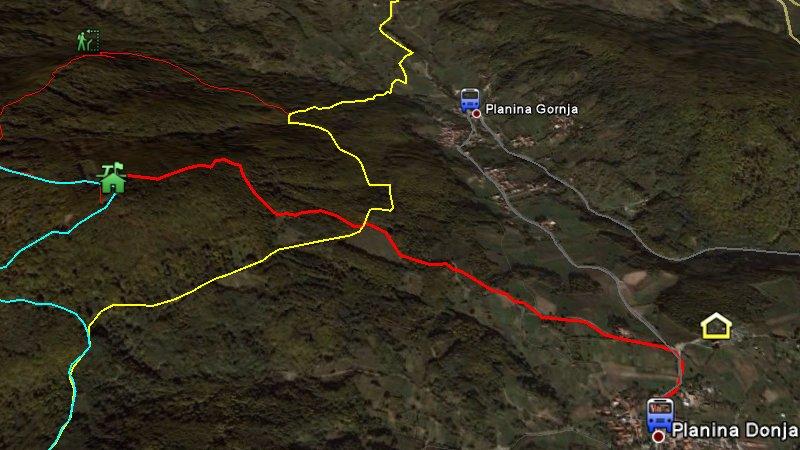 Crvena staza vodi od Planine Donje do Lipe.